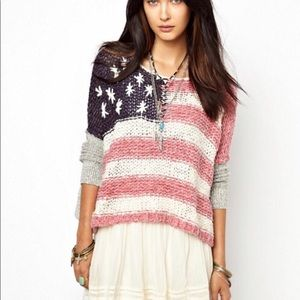 RARE Free People American Flag Sweater Size Large